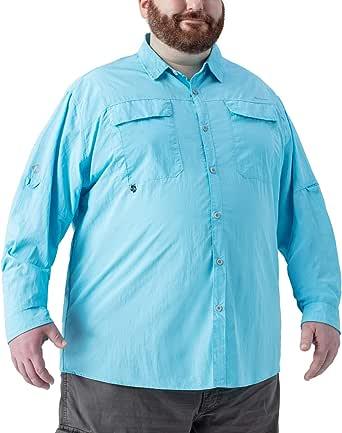 Naviskin Men's Plus Size UPF 50+ Sun Protection Long Sleeve Quick Drying Outdoor Shirt Big & Tall XL-4XL