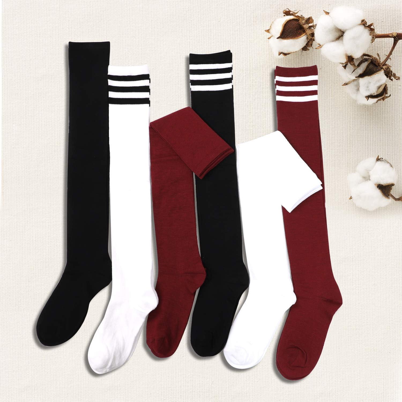 Aneco 6 Pairs Over Knee Thigh Socks Knee-High Warm Stocking Women Boot Sock Leg Warmer High Socks for Daily Wear Cosplay