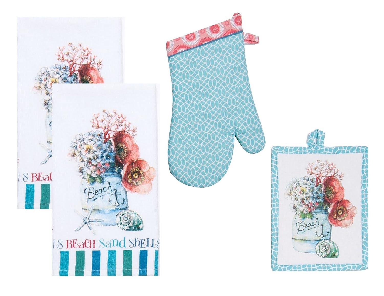 4 Piece Beach House Inspriations (BHI) Floral Ensemble Kitchen Linen Bundle / Set - 2 Terry Towels, 1 Oven Mitt, 1 Potholder