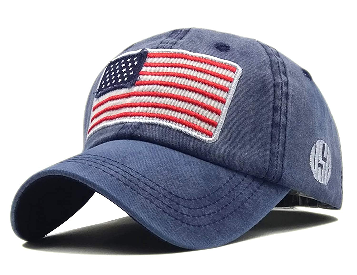 a32e2a60b70eb LOKIDVE USA American Flag Baseball Cap Embroidered Polo Style Military Army  Hat-Black at Amazon Men s Clothing store