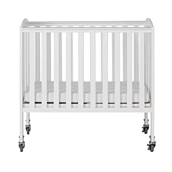Dream On Me 2 In 1 Folding Birch Portable Crib, White