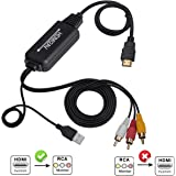 HDMI to RCA Cable, HDMI to RCA Converter Adapter Cable, 1080P HDMI to AV 3RCA CVBs Composite Video Audio Supports PAL/NTSC for Amazon Fire Stick, Roku, Chromecast, PC, Laptop, Xbox, HDTV, DVD