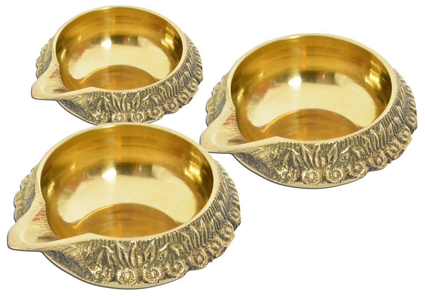 Artcollectibles India Set Of 3 beautiful Brass Diwali Kuber Diyas for Hindu Puja Prayer Religious Christmas Lighting