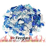 Mr. Fireglass Recycled Fire Glass for Natural or Propane Fire Pit Fireplace Gas Log Sets, 10 Pounds, Bahama Blend