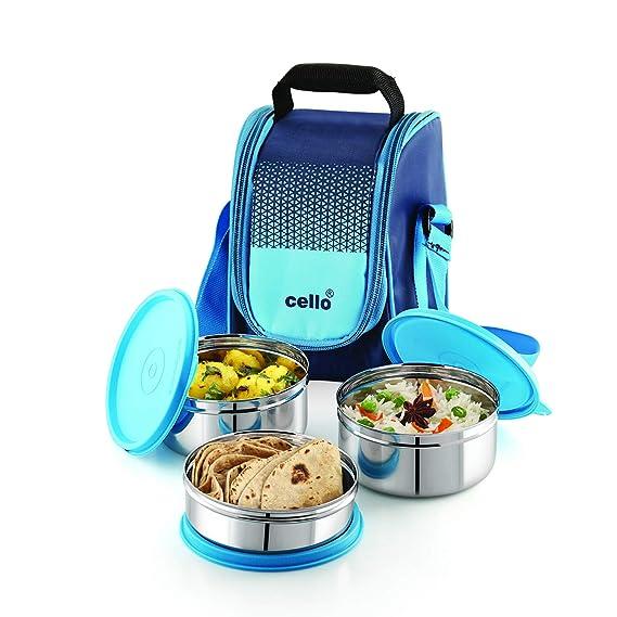 Cello Max Fresh Fresh Matiz Lunch Box Set of 3, 375ml, Blue Lunch Boxes