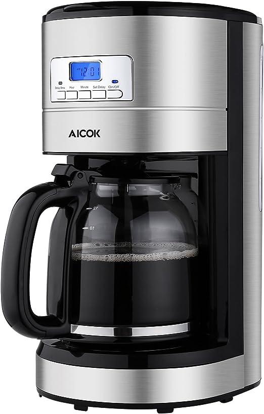Amazon.com: Cafetera Aicok de 12 tazas, cafetera programable ...