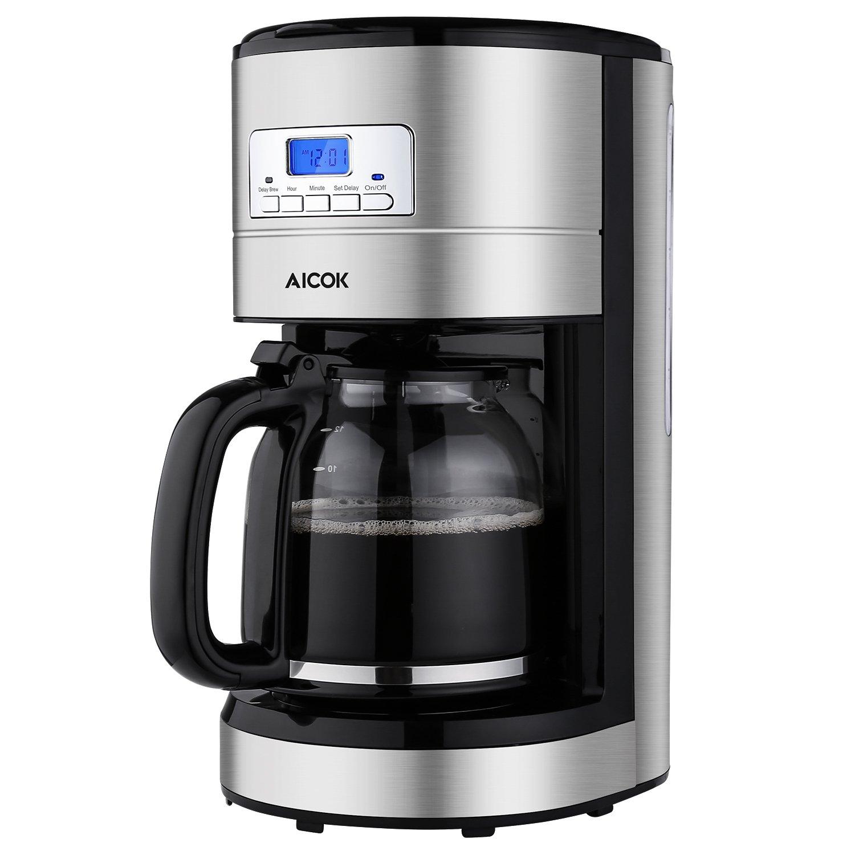 codice sconto amazon -  Aicok Macchina Caffè Americano, Caffettiera Elettrica 12 tazze, Acciaio Inossidabile, Programmabile con Timer, 1000 Watts, Nero