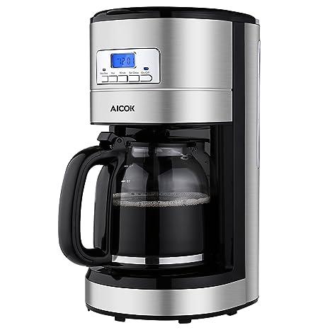 Aicok Cafetera,Cafetera Goteo Programable 12 Tazas con Jarra de Vidrio, Cafetera de Goteo Filtro Permanente, Negro