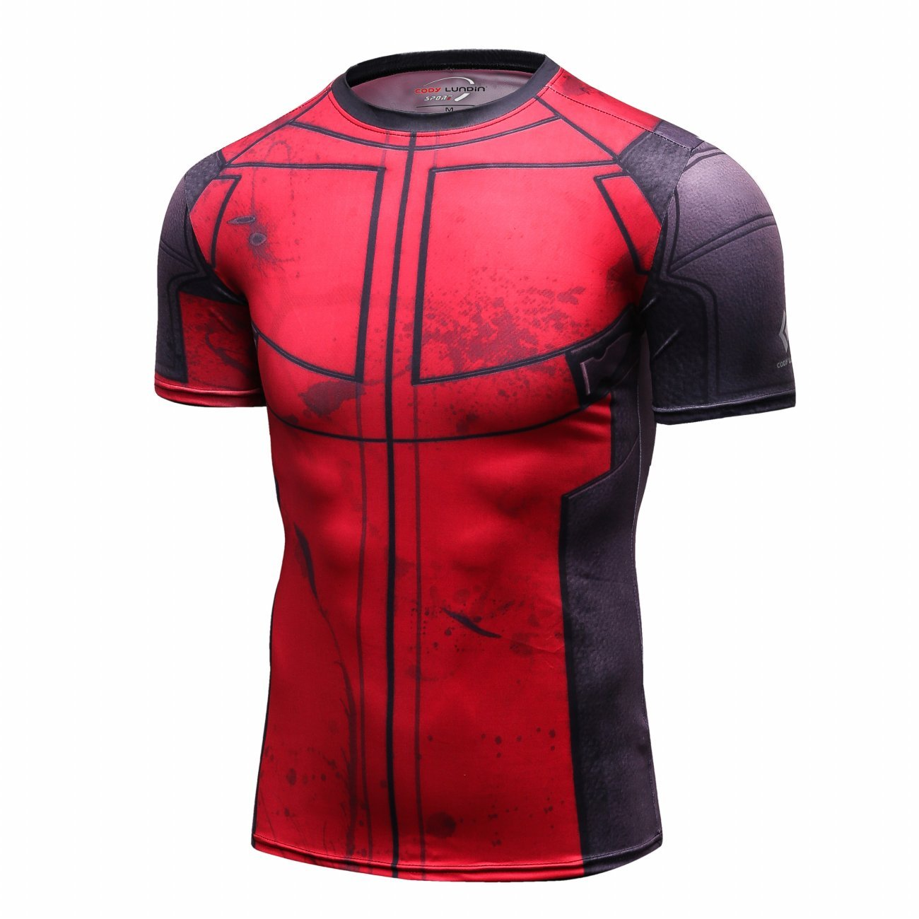 Red Plume Mens Compression Sports Fitness Shirt Spider T-Shirt for Men Sport Short Sleeve