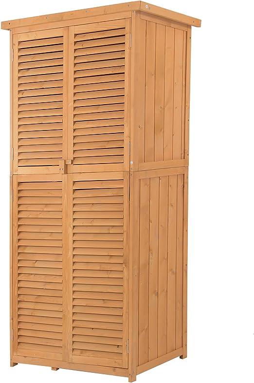 Outsunny - Armario portaobjetos de Exterior de Madera, Impermeable, 87 x 46, 5 x 160 cm: Amazon.es: Jardín