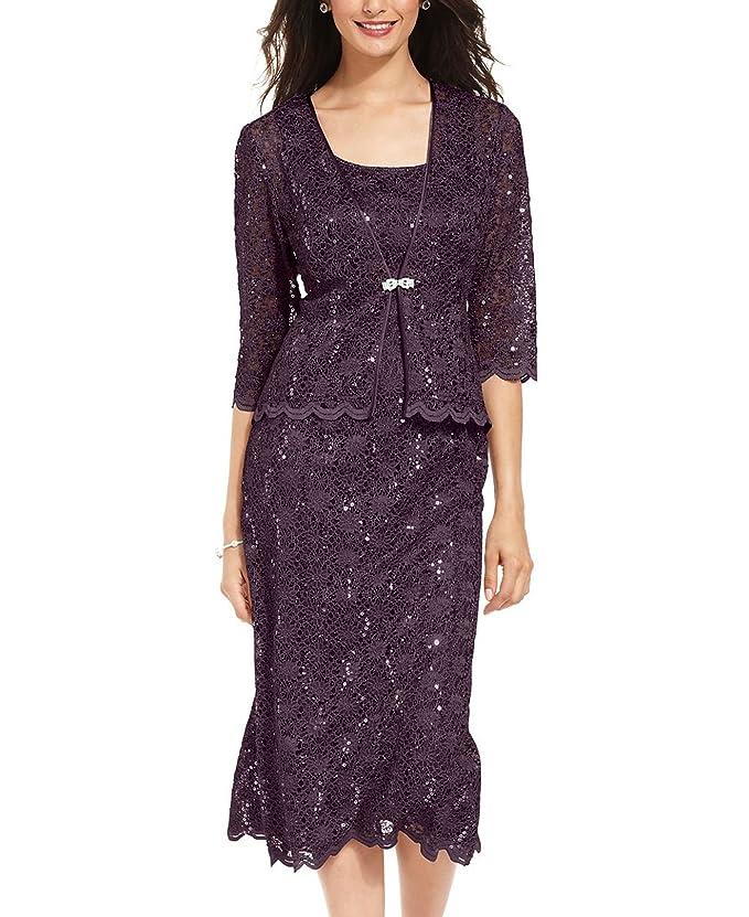1930s Style Fashion Dresses R&M Richards Womens 2 Piece Lace Swing Jacket Dress $141.00 AT vintagedancer.com