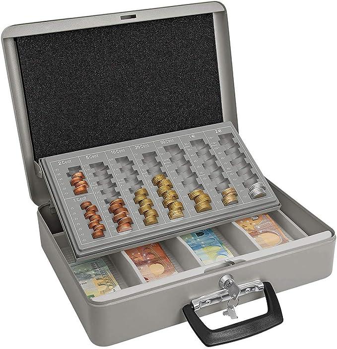 Wedo 149100812 - Caja metálica para dinero (2 llaves, soporte para monedas con marcas y desprendible, 4 compartimentos para billetes, chapado en acero, 37 x 29 x 11 cm), color gris: Amazon.es: Oficina y papelería
