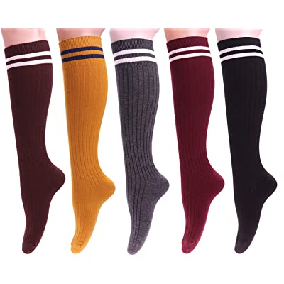 5 Pairs Long Knee High Socks Solid Striped Cotton Crew Sock for Women Size 5-9 Daily Socks W95 (Mixed color) at Amazon Women's Clothing store