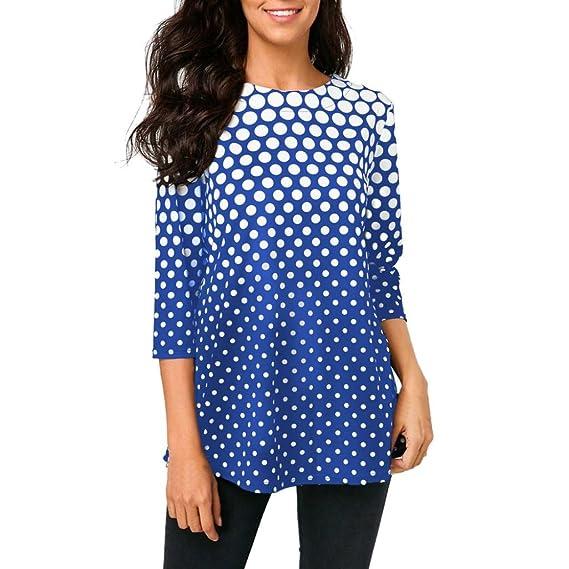 Moda Camiseta O-Cuello para Mujer Tops Manga Tres Cuartos Blusa con Estampado de Lunares
