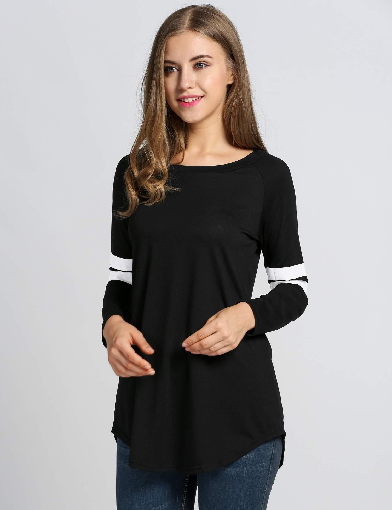 etuoji Fashion Women T-Shirt Baseball Long Blouse Casual Long Sleeve