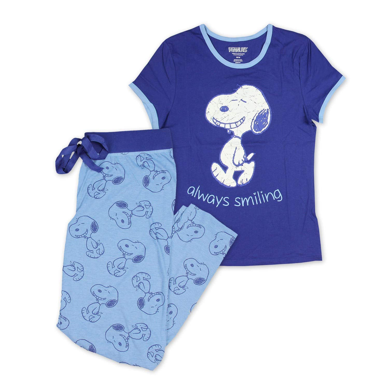 Peanuts Women's Snoopy 2-Piece Pajama Set, Snoopy Blue, S