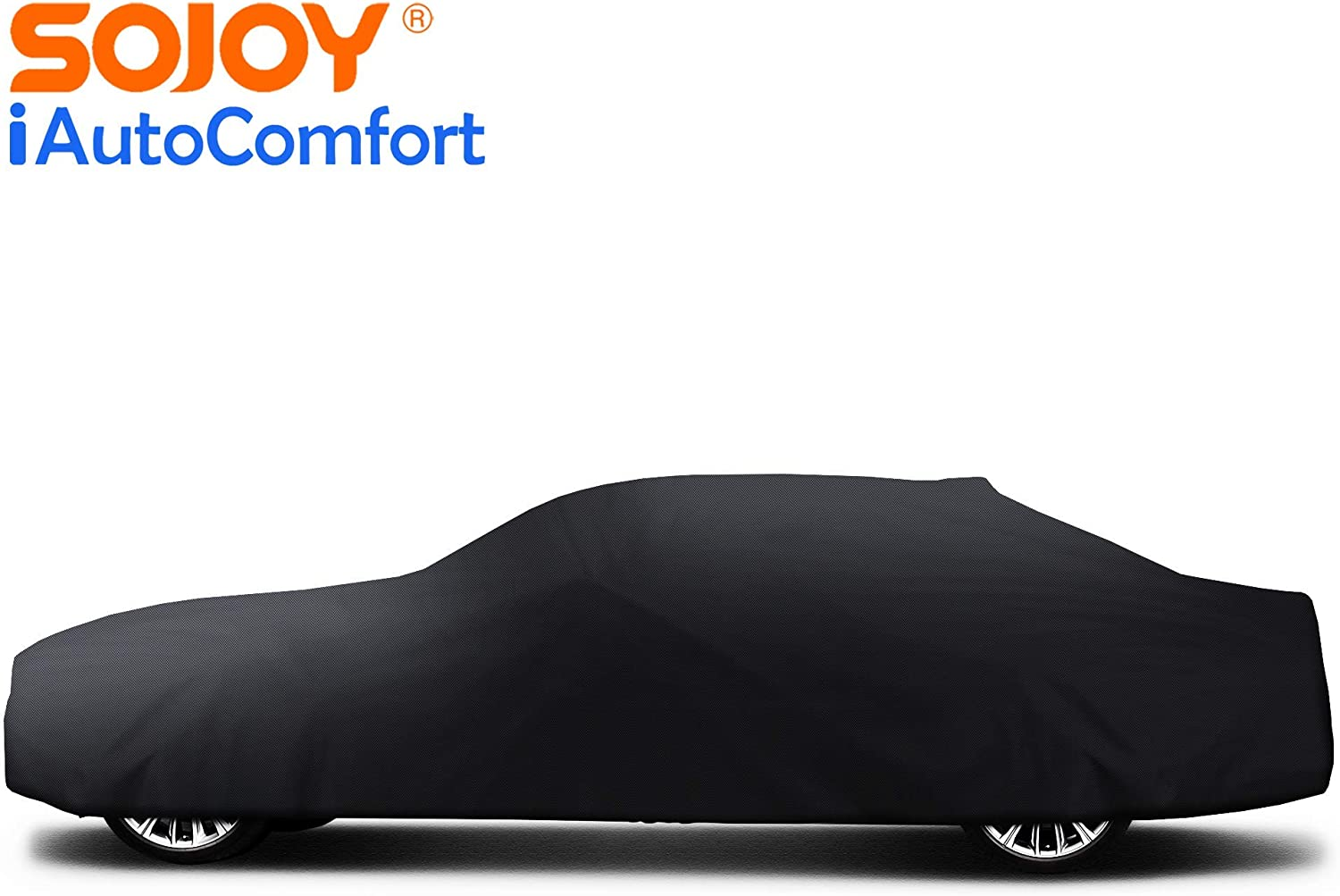 Sojoy Universal Indoor Car Cover Soft Elastic Breathable Fabric Stretch Dust-Proof Protection Full Car Cover for Underground Garage Automobile Expo Car Show Black 171-215