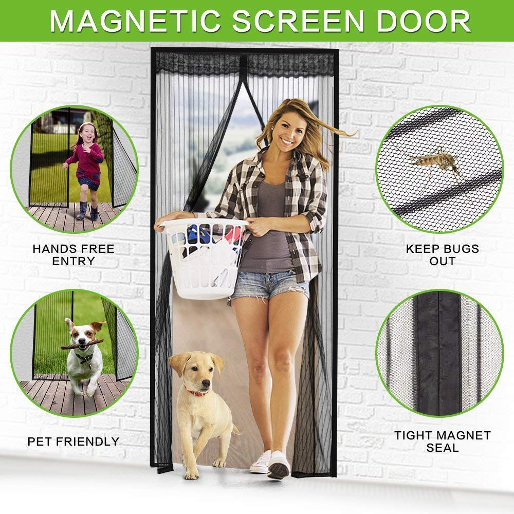 Magnetic Screen Door, VDEALEN Door Mesh Fly Mosquito Curtain with Magnets & Full Frame Tapes,Full Frame Hook & Loop, Hands Free, Fits Door Size up to 34''-82'' Max (Screen Door Size 35'' X 83'', Black) by Vdealen