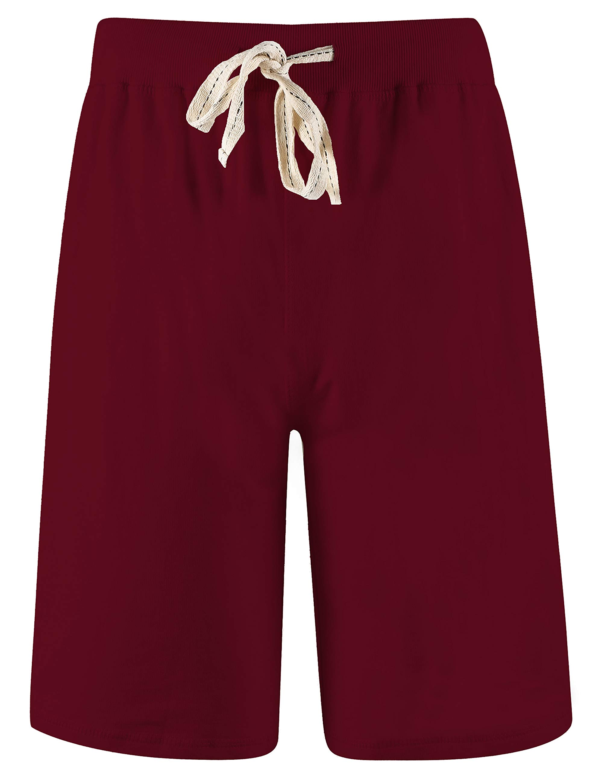 Arloesi Men's Cotton Casual Solid Shorts (XXL, Wine)