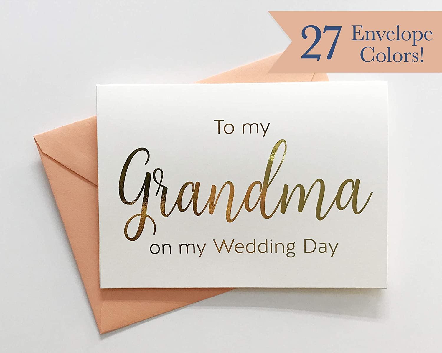 Foiled Printed Cards with Envelopes WC144-SW-F To My Grandma on My Wedding Day Card