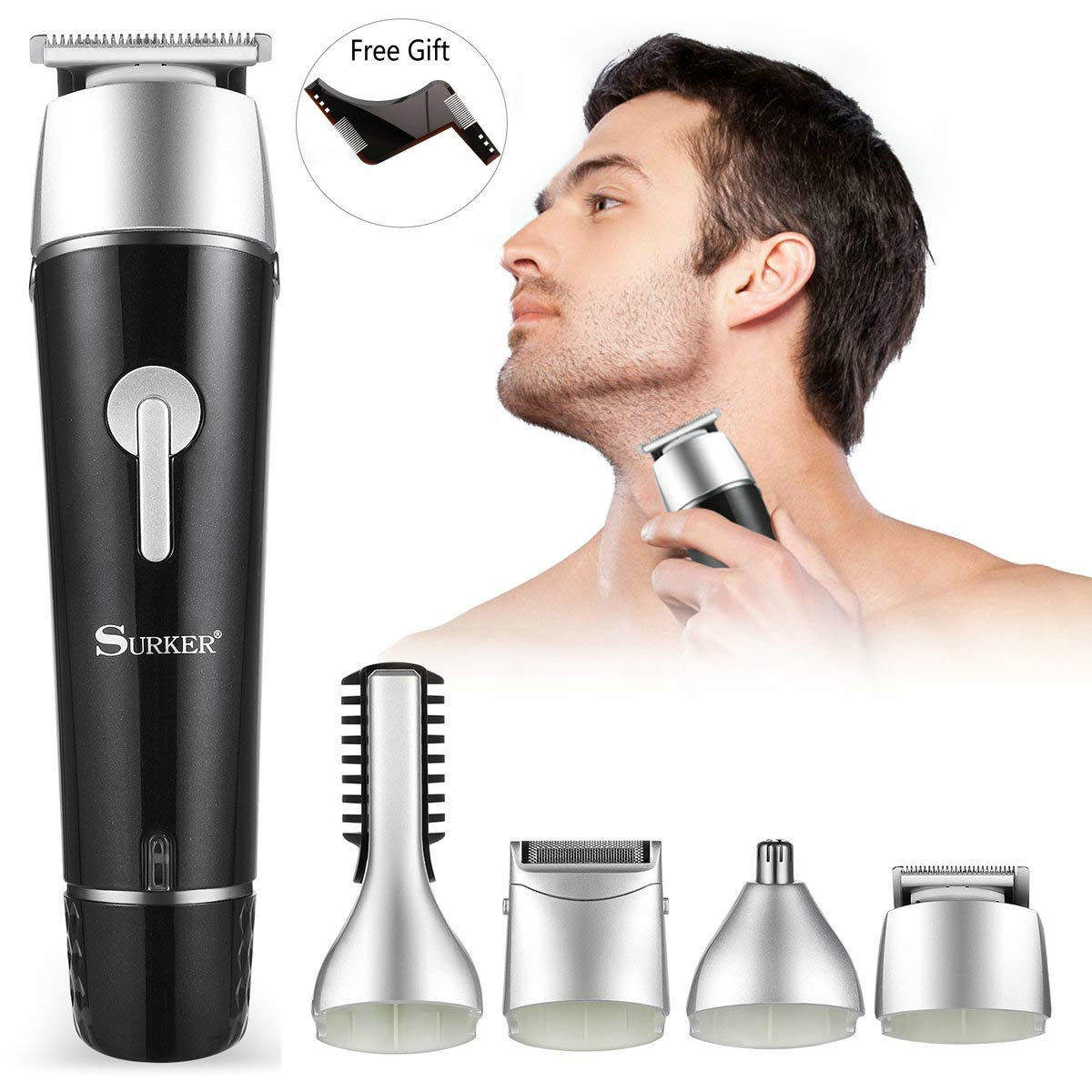 Electric Grooming Kit for Men, 5 in 1 Multi-functional Waterproof Rechargeable Grooming Kit