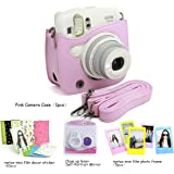 CAIUL Compatible Mini 25 Camera Case Bundle with Selfie Lens, Frames & Film Stickers for Fujifilm Instax Mini 25 26 (Pink, 4 Items)