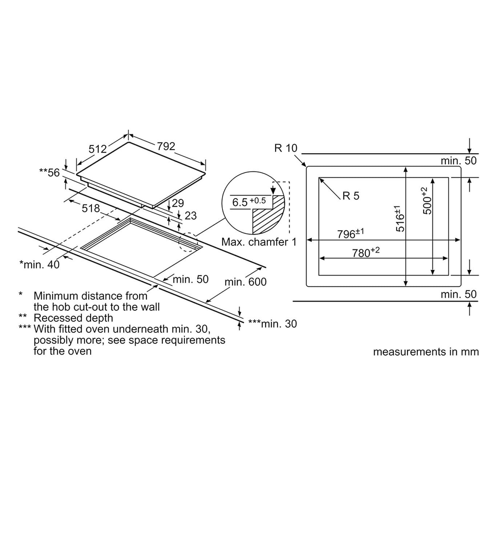 Neff T48PD23X0 Plano Design 80cm 5 biZone Induction Hob Amazon