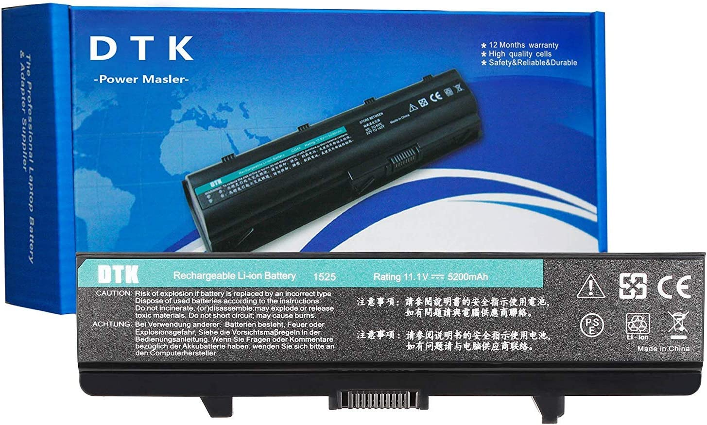 Dtk Laptop Battery for Dell Inspiron 1525 1526 1545 1546 1440 1750 Vostro 500 K450n [ 6-Cell 11.1v 5200mah] Notebook PC Battery