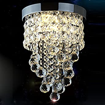 Surpars House Flush Mount Crystal Chandelier 3 Light Led Bulbs Included Chrome Silver by Surpars House