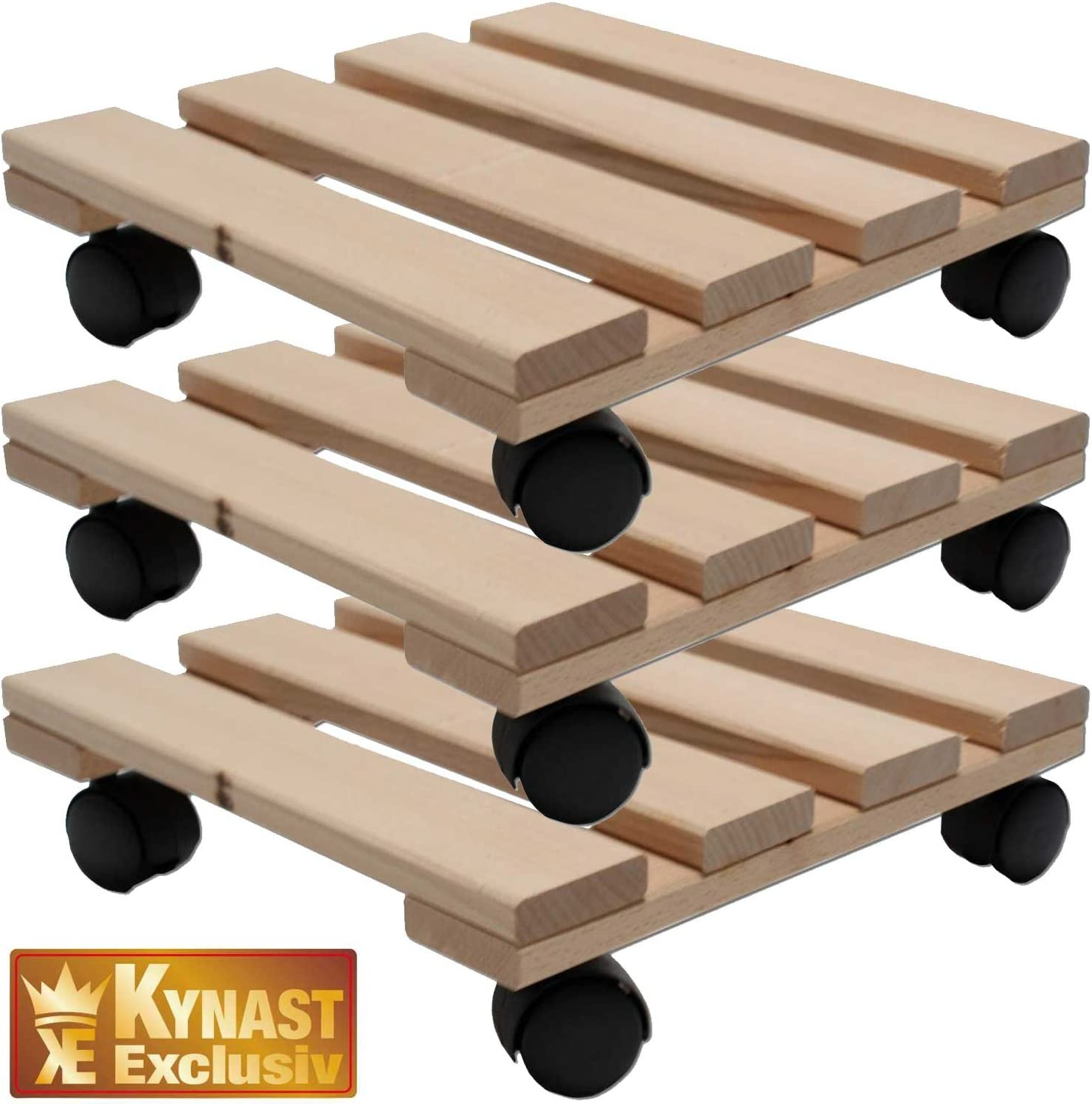 Unbekannt DREI Pflanzenroller Holz MASSIV aus stabilem Buchenholz eckig 30 cm x 30 cm bis 120 KG
