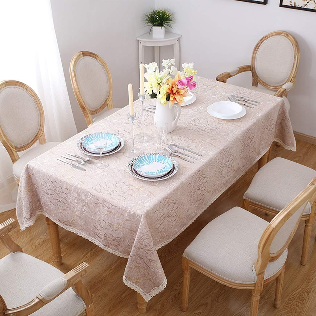 130180cm Nappe Table Basse Rectangulaire Brodée Nappe Jardin Nappe Tissu Frais Petite Nappe Couleur Café Légère (taille   140  210cm)