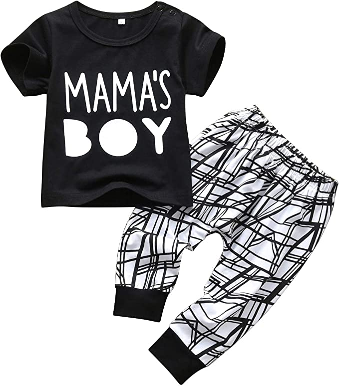 Baby Boys Outfit Mamas Boy Pint Short Sleeve T-Shirt+Striped Leggings Pants Clothes Sweatsuit Set