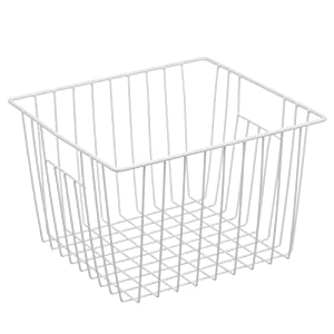 Refrigerator Freezer Basket, Deep Metal Wire Storage Basket Organizers, Household Bin Basket with Handles for Kitchen Cabinets, Pantry, Freezer, Closets, Car- Pearl White