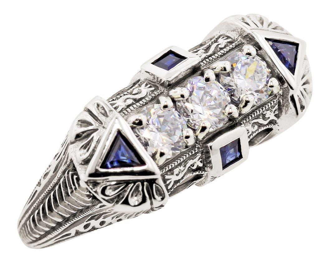 Art Deco Style Sterling Silver Filigree Cubic Zirconia & Sapphire Ring (sz8) by Jansjewells