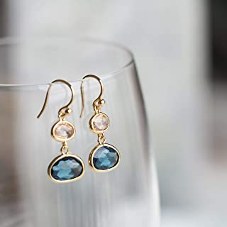 product image for Simulated Blue Sapphire and Simulated Lt Topaz Drop Earrings