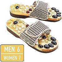 Relax Reflexology Sandals | Powerful Natural Stone Acupressure Slipper | Shiatsu Foot Massager | Men 6 Women 7 | 73.5