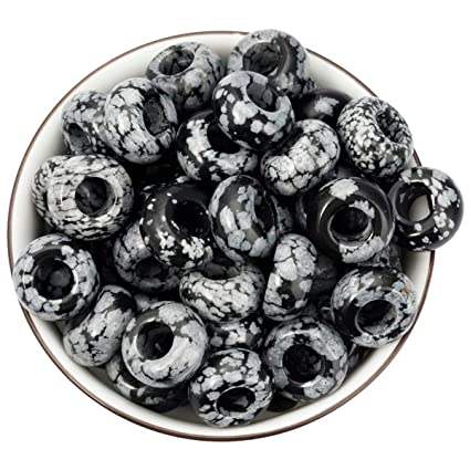 34f6bf528c219 Nupuyai Large Hole Stone Loose Beads for Jewelry Making Pack of 30,  Polished Rondelle European Beads fit Charms Bracelet