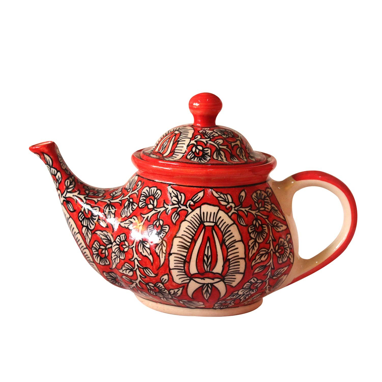 India Meets India Handmade Crafted Khurja Pottery Multicolor Ceramic Single Serving Kettle Or Teapot with Lid Use For Tea Serving, Coffee Serving, Hot Water Serving and Home/Kitchen Decoration Qty-1
