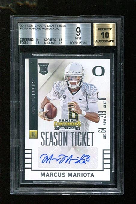 2015 Contenders Draft Picks Marcus Mariota Rookie Card  131 BGS Mint 9 Auto  10 - c4bfe0ef5