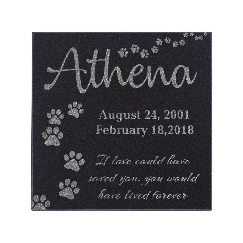 12''x12'' Memorial Pet Headstone - Loyal Companion, Dog and Cat Personalized Custom Granite Grave Marker D-4 S-12