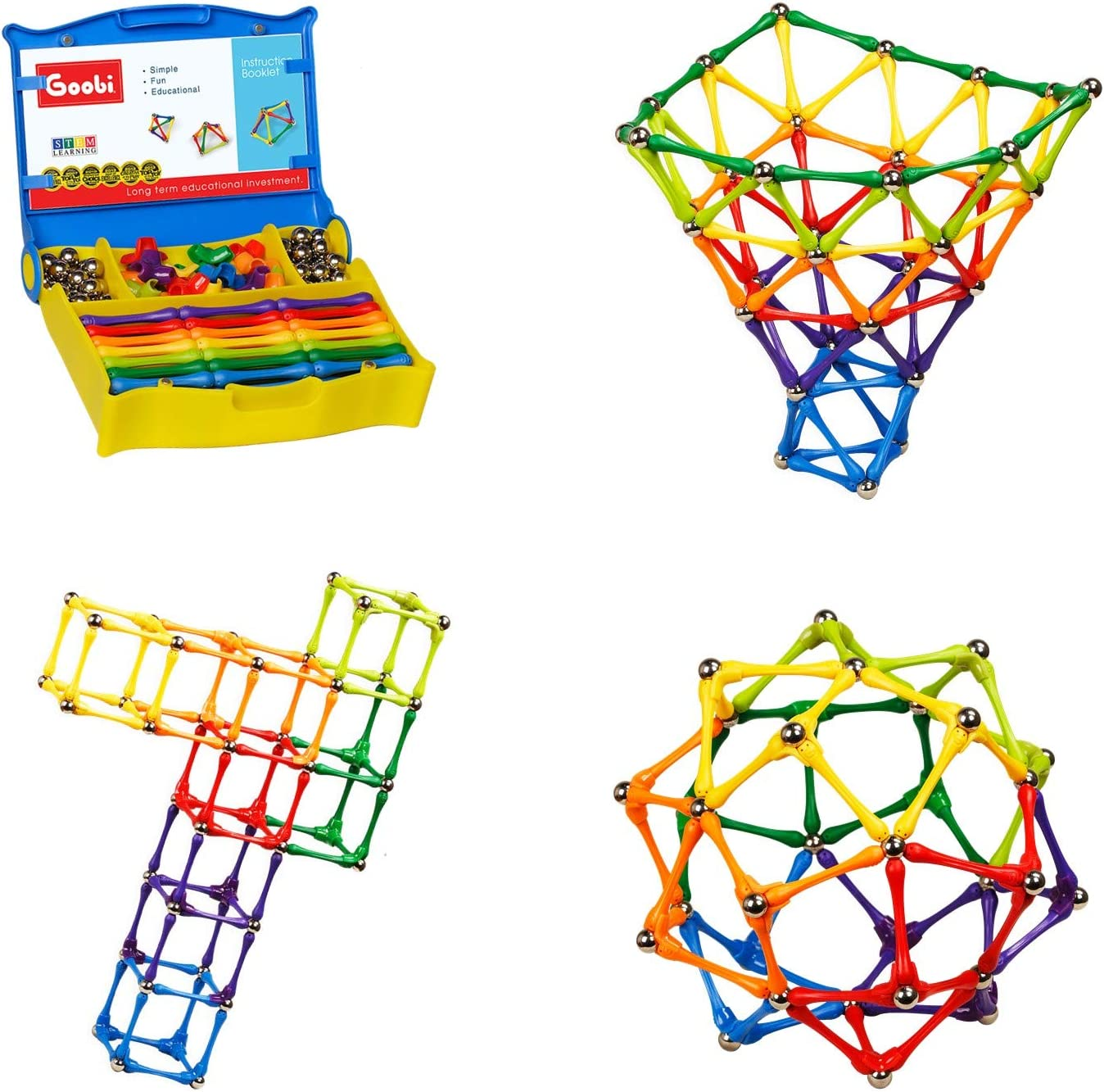 Goobi 180 Piece Construction Set Building Toy Active Play Sticks STEM Learning Creativity Imagination Children's 3D Puzzle Educational Brain Toys for Kids Boys and Girls with Instruction Booklet