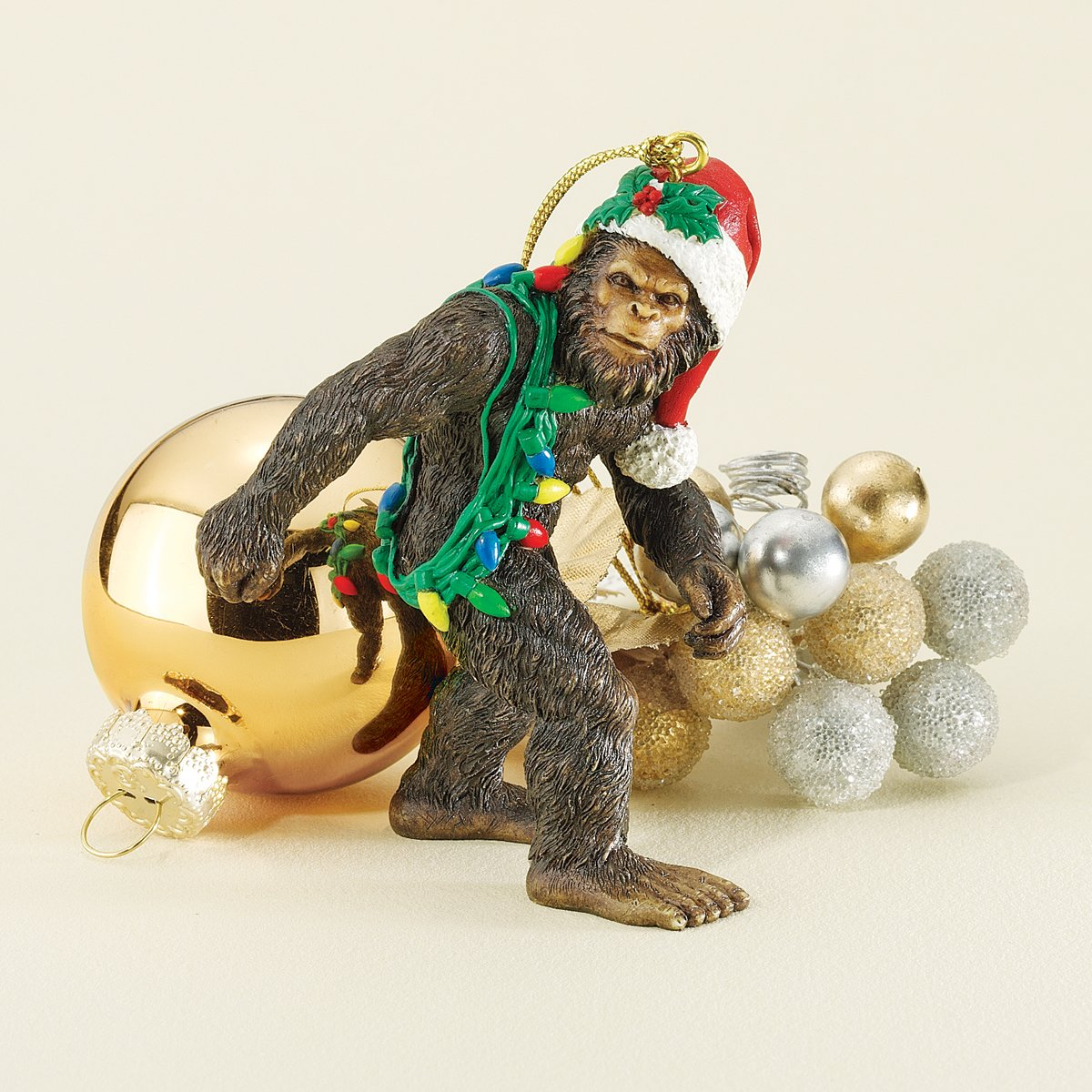 amazoncom design toscano bigfoot the holiday yeti with santa hat funny christmas tree ornament 3 inch polyresin full color home kitchen - Bigfoot Christmas Ornament