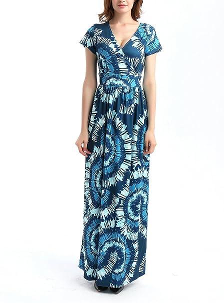 casual Misschicy spiaggia estivo scollo a V Maxi abito da donna con stampa tropicale