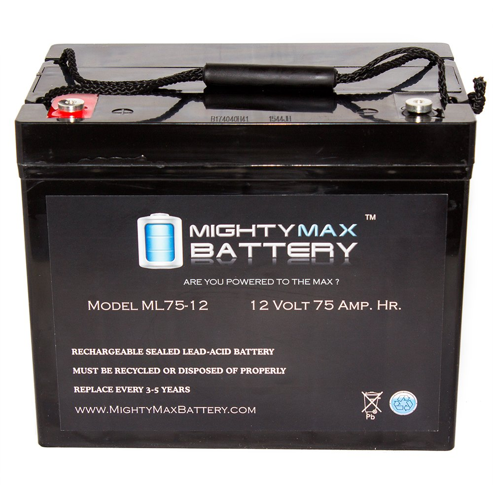 12V 75AH Internal Thread Battery for Grape Solar 300W Off Grid Kit - Mighty Max Battery brand product by Mighty Max Battery