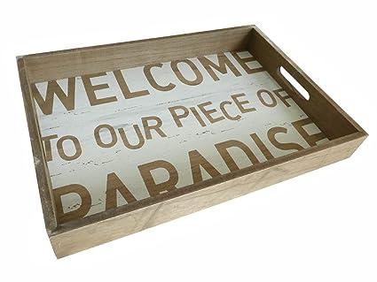 Bonita bandeja de madera~Welcome~de la bandeja de madera de la decoración de