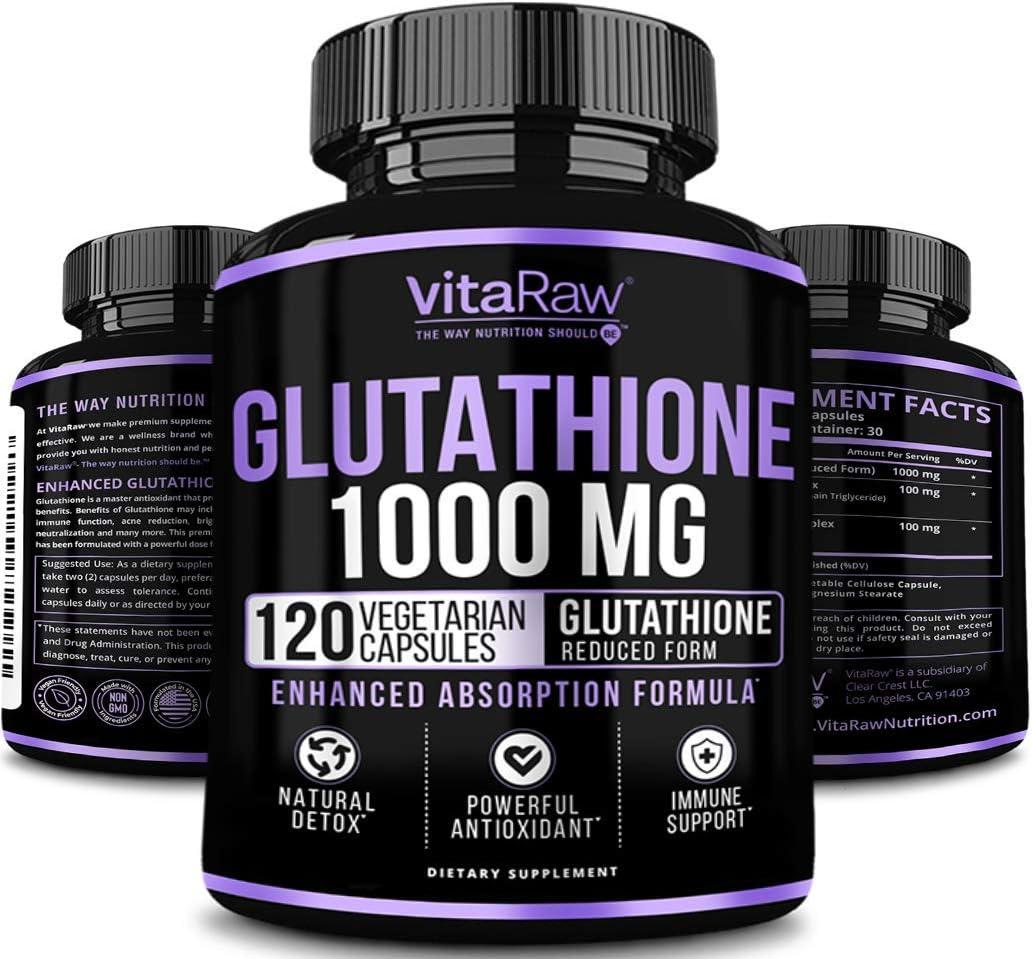 Glutathione 1000mg Immune Support, Liver Detox & Cleanse, Brain Booster, Anti Aging, Reduced Glutathione Supplement w/Alpha Lipoic Acid, Anti Inflammatory Pure L Glutathione Skin Care Pills