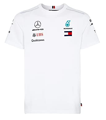 05770f0bf1c Image Unavailable. Image not available for. Color: Mercedes Benz AMG  Formula 1 Petronas White 2018 Men's Driver Team T-Shirt ...