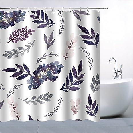 BCNEW Flower Leaf Pattern Theme Shower Curtain Purple Pink Flowers Magenta Dark Green Leaves White Background
