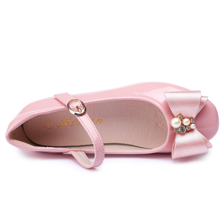 Little Kid//Big Kid UBELLA Girls Low Heel Ballet Dress Shoes Princess Bowknot Mary Jane