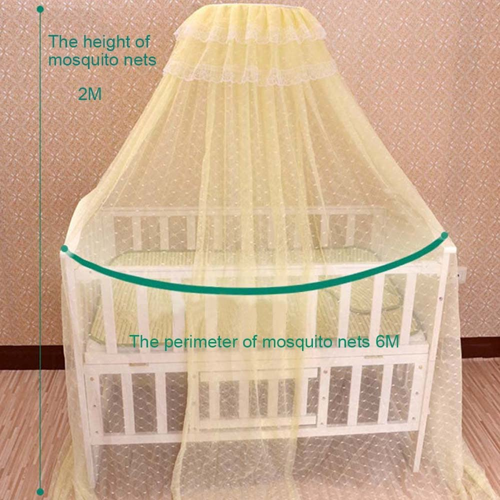 Mosquito Net Baby Toddler Nursery Bed Crib Bassinets Playpens Round Lace Dome Canopy Guard Netting with Adjustable Clip-on Stand Mounting Support Ring Rack Bracket Stand Set Accessories by TiTa-Dong